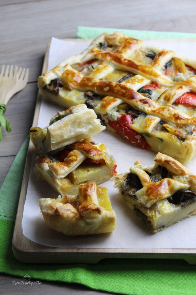 Torta salata con verdure miste e zola