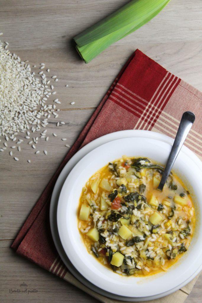 Zuppa di riso, porro e spinaci